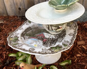 Repurposed Dish Bird Feeder, Vintage Plate Bird Feeder, Tea Cup Bird Feeder, Garden Totem, Tiered Dish, Centerpiece, Tea Party Decoration