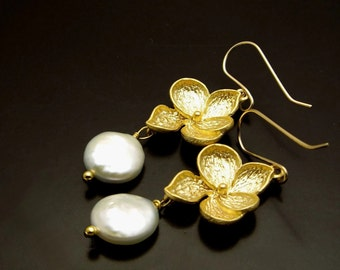 FLOWER PETALS ~ White Freshwater Coin Pearls, 14kt Gold Fill Earrings