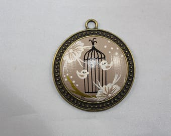 "Pendant ""Laurette"" ash Brown and the bird cage"