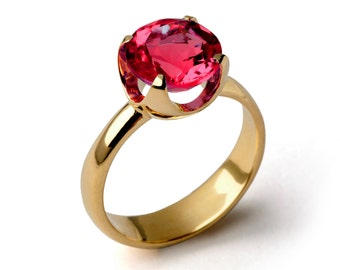 CUP Ruby Engagement Ring, Gold Ruby Ring, Ruby Promise Ring, Large Ruby Ring, Gold Statement Ring, Ruby Solitaire Ring, Mothers Day Gift