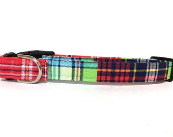 Naked Dog Collar- The Mad About Plaid- Adjustable Collar