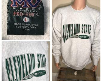 Cleveland State University sweatshirt // vintage crewneck // 90s reverse weave // Vikings // CSU // adult size large // heather gray