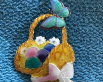 Easter eggs in a basket with a butterfly
