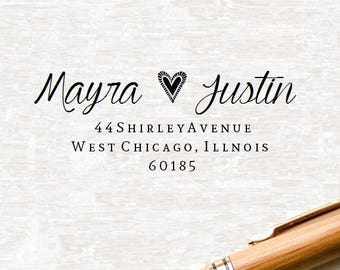 Return Address Stamp Style- 73 ,  Custom Address Stamp, Wedding Stamp, Rubber Stamp, Personalized Self Inking Wedding Stationery Stamper