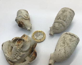 4 Lovely Very Old Thames River Clay Pipe Finds