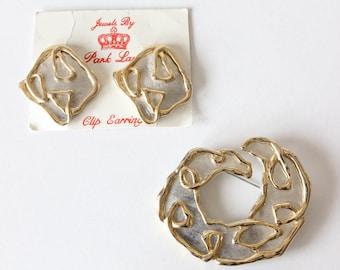 Vintage Parklane Mixed Metals Statement Earrings & Brooch Set