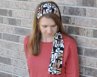 Women's Black, White, Orange Stretch Hair Wrap, headcovering, hair scarf, head scarf, headband, hair tie, bandana, hairscarf, headscarf,