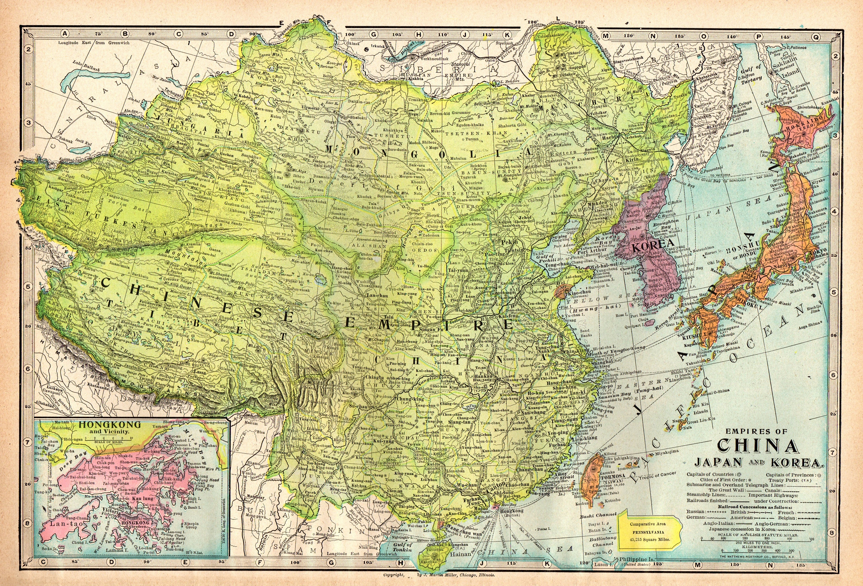 1904 Antique CHINA Map Korea Map Japan Vintage Map of China