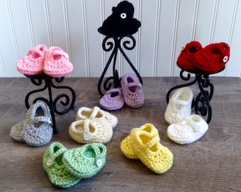 Crochet Mary Janes, Baby Girl Shoes, Baby Girl Booties, Newborn Booties, Pink Shoes, Black Shoes, Purple Shoes, Yellow Shoes, Green Shoes