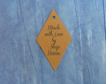 25 diamond tags custom tags clothing labels made with love tags gift tags product tags shop supplies price tags kraft tags w twine hang tags