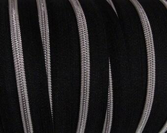 Zipper at the meter, x 100 black zipper / black or Silver / Gold
