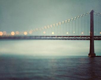 "San Francisco Art, Abstract Art Prints, Fine Art Photography Print, Bay Bridge, Modern Large Wall Art, Teal Wall Decor ""Crossing"""