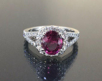 Gorgeous 14k White gold Natural Pink Rose Tourmaline VS-1 Diamond HALO ring 2.20