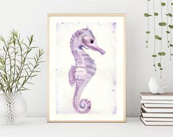 Seahorse Original Watercolour Painting, A4, Marine, Sea, Ocean Life, Bathroom Wall Art, Scuba Dive,