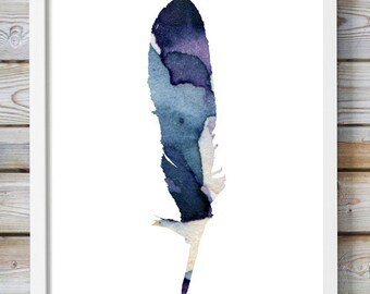 Feather watercolor - feather decor - feather art- feather painting -  print - indigo feather illustration - purple blue wall art decor
