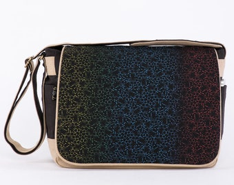 LSD Molecule Canvas Messenger Bag For Women Men Messenger Bag, Laptop Bag, 13 inch, 15 inch, Psychedelic, Macbook Bag, Messenger Bag Laptop