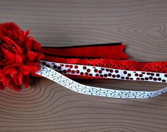 Red,White & Black Ponytail Streamer