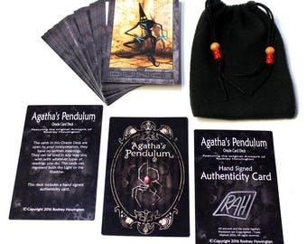 Agatha's Pendulum -  Oracle Card Deck with Handmade Drawstring Bag  (42 Cards Total)