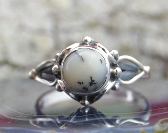 Dendritic Agate and Sterling Silver ring size 7