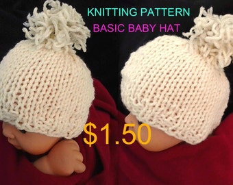 Instant download - BABY HAT-  hat knitting pattern - Unisex boy, girl, newborn to 12 months,   num 829, beginner level
