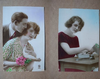 9 Romantic postcards. Twenties