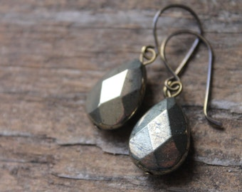 Beacon Hill Faceted Pyrite Briolette Earrings on Artisanal Bronze Ear Wires - Nobody's Fool