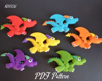 PDF sewing pattern to make a little felt dragon.