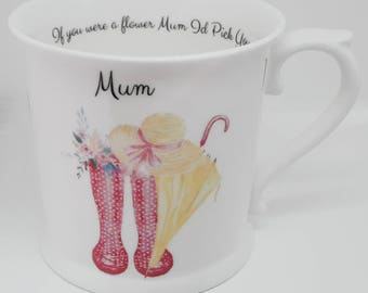 Hand Crafted English Fine Bone China Mug for Mothers day.