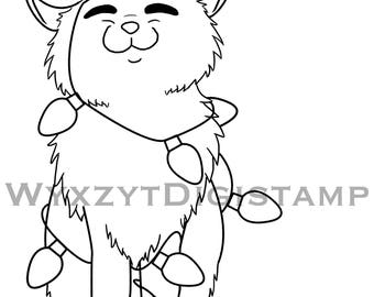 Cute kitten tangled in christmas lights digistamp, instant download coloring page
