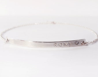 Personalized Silver Bar Bracelet, Sterling Silver Bar Bracelet, Women's Bracelet, Nameplate Bracelet, Custom Stamped Name, Initials, Date