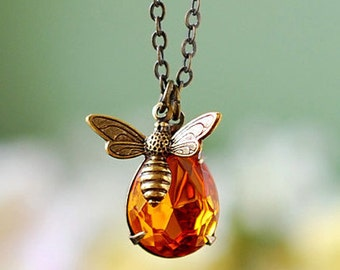 Bee and Honey Drop Necklace. Antiqued Gold Brass Bee Topaz Glass Pendant Necklace, November Birthstone, Bee Jewelry, Christmas Gift Idea