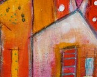Orange and Red  Funky House whimsical  style  BOOKMARK in orange red yellow white  by Jodi Ohl