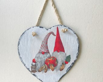 Christmas Decoration, Christmas Ornament, Gnome, Hanging Heart, Slate Heart