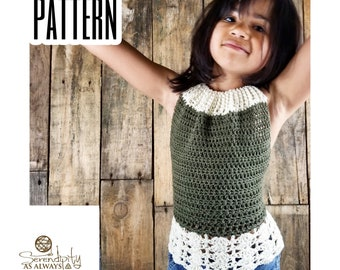 Crochet PATTERN | Girl's Laskeside Halter Top Crochet Pattern | Size 2-10 | PDF Digital Download | Child's Summer Crochet Pattern