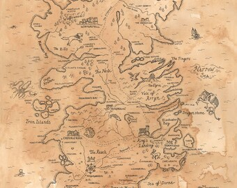 Game of Thrones Map of Westeros Print