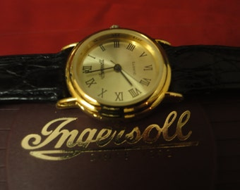 New stunning gold tone ladies ingersoll watch with black leather strap