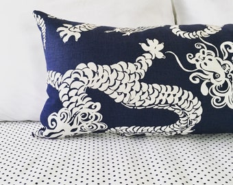 14x36 Navy Blue Extra Long Lumbar  Pillow Cover, Dragon Tail Lights, Lilly Pulitzer fabric, Navy blue and white Decorative pillow, Dragons