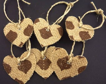 """6 Burlap Heart Tags or Tie Ons.  Patterned Burlap Heart.  2"""" or 5 cm Wide."""
