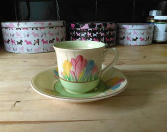 Vintage art deco Clarice Cliff Newport Pottery Spring Crocus pattern coffee cup and saucer