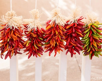 New Mexico Red Chiles, Fine Art photography Print, Santa Fe, Kitchen wall art, Dining Room, Chili Pepper decor, Southwest, red, cream,