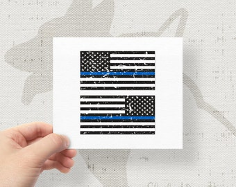 Set of 2 - Thin Blue Line US Flags Bumper Sticker Decal Distressed