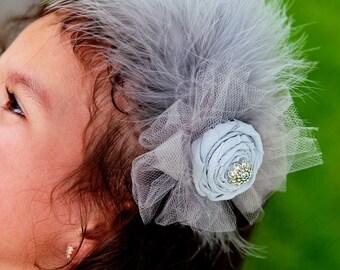 Vintage styleheadband grey handrolled rosette. Vintage embellishments tulle, and feathers.