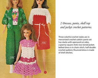 "Barbie Crochet Patterns Dress Pants Jacket Shell Hat Top 11.5"" fashion doll  PDF DOLL102"