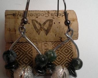 Agate stone vintage grunge handmade earrings hoop