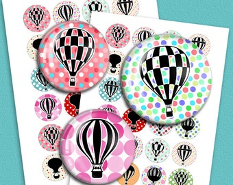 Hot Air Balloons 1 inch, 1.313 inch, 1.5 inch for 1 inch Button Images, Bottle cap images, Pendant Images Digital Collage Sheet