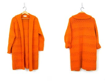60s Wool Cardigan Chunky Orange Sweater Coat Retro Wool Knitwear Jacket Sweater Duster Open Fit Oversized Mod Cardigan Sweater Womens Medium