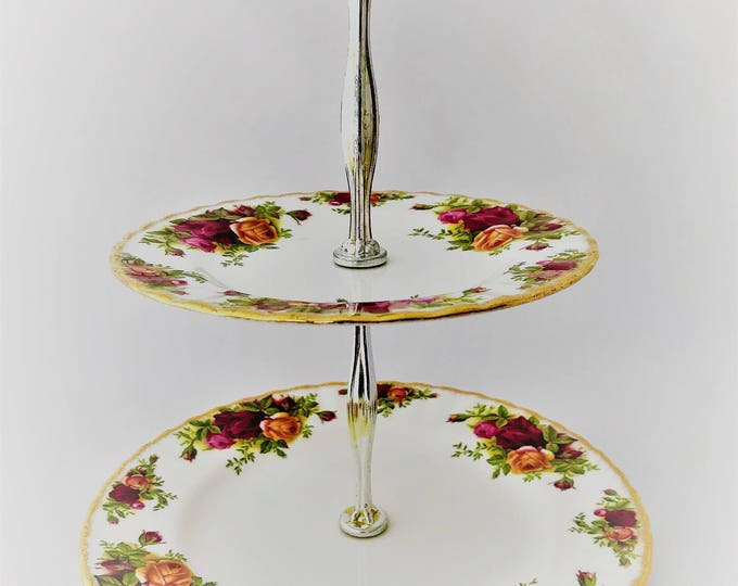 Royal Albert Old Country Roses-Cake stand 2 levels