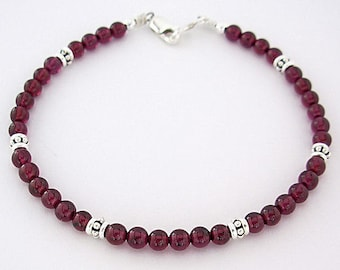Garnet Bracelet with Sterling Silver Accents  in Sizes Small to Large - 7, 8, 9 + inches - Natural Gemstones