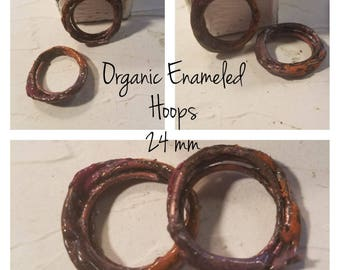 Organic Enameled hoops Pink Red Orange