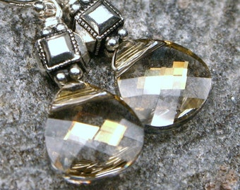 Dove Gray Earrings Silver Shade Deco Cube Swarovski Crystal Flat Briolette Handmade Grimoire Autumn Fall Metallic Sterling Sparkle Grey